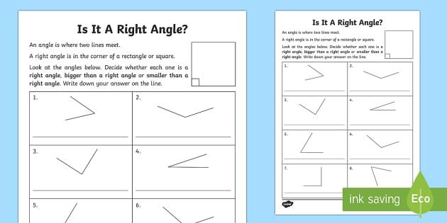 Right Angles Worksheet   Worksheet