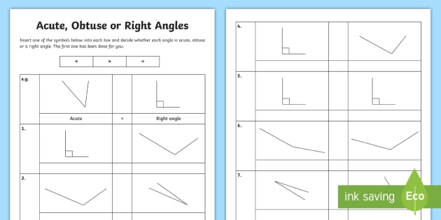 Greater Than Or Less Than A Right Angle Worksheet   Worksheet