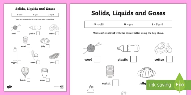 Solid, Liquid And Gas Worksheet