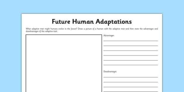 Future Human Adaptations Worksheet   Worksheet