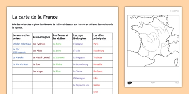 Map Of France Worksheet   Worksheet French