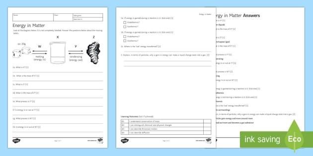 Ks3 Energy In Matter Homework Worksheet   Worksheet