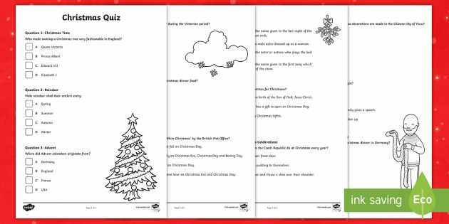 Ks2 Christmas Quiz Worksheet   Worksheets