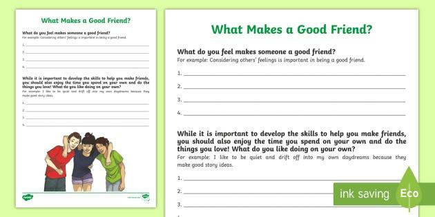 What Makes A Good Friend  Worksheet   Worksheet
