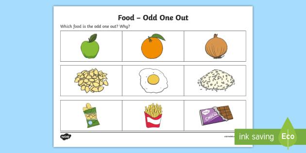 Food Odd One Out Worksheet   Worksheet