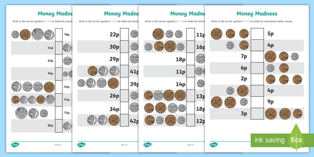 Money Madness (greater Than And Less Than) Worksheet   Worksheet Pack