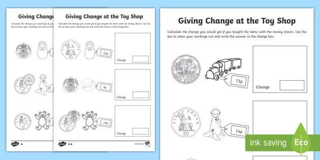 Ks1 Maths Giving Change At The Toy Shop Worksheet   Worksheets