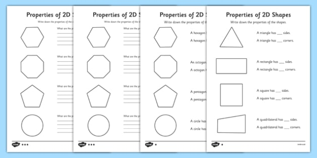 Year 2 Properties Of 2d Shapes Differentiated Worksheet