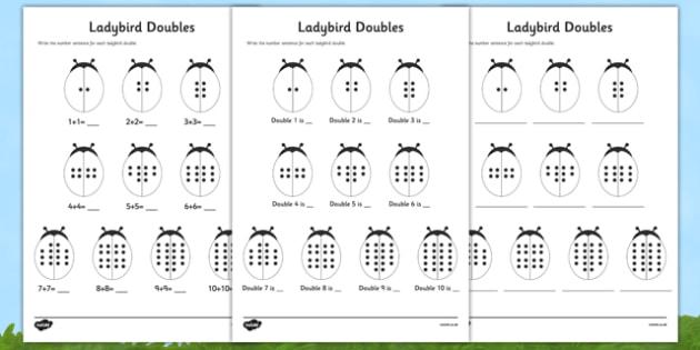Doubles To 20 Ladybird Worksheet   Worksheet