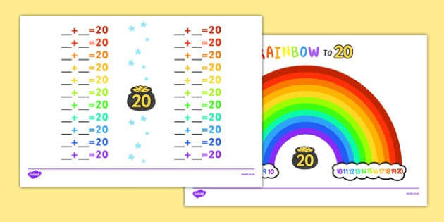 Rainbow Themed Number Facts To 20 Worksheet