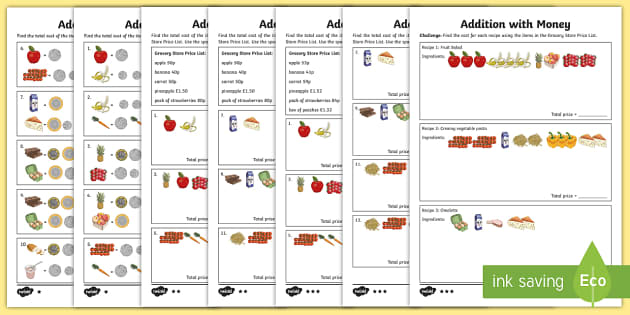 Addition With Money Differentiated Worksheets