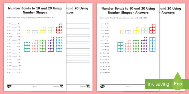 Number Bonds To 10 And 20 Using Number Shapes Worksheet
