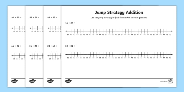 Addition Jump Strategy Number Line Worksheets
