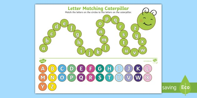 Upper Case And Lower Case Letters Matching Caterpillar Worksheet