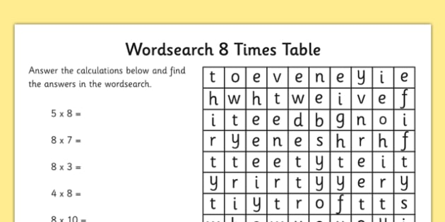 Multiplication 8 Times Tables Word Search Worksheet Ks2