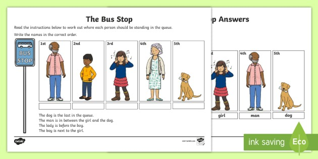 Ks1 The Bus Stop Worksheet   Worksheet