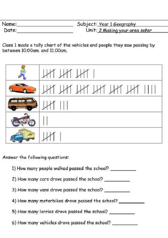 Tally Chart Worksheets