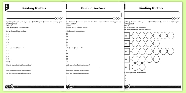 Finding Factors Worksheet   Worksheets