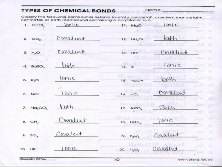 Types Of Chemical Bonds Worksheet Answers