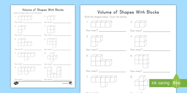Kindergarten Volume Of Shapes With Blocks Worksheet