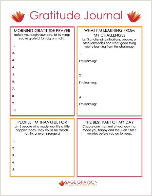Worksheet For Daily Gratitude