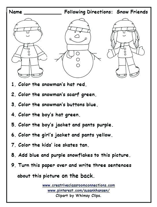 Worksheets Free Printable Winter Preschool Kindergarten Image