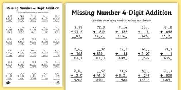4 Digit Missing Number Addition Worksheet   Worksheet